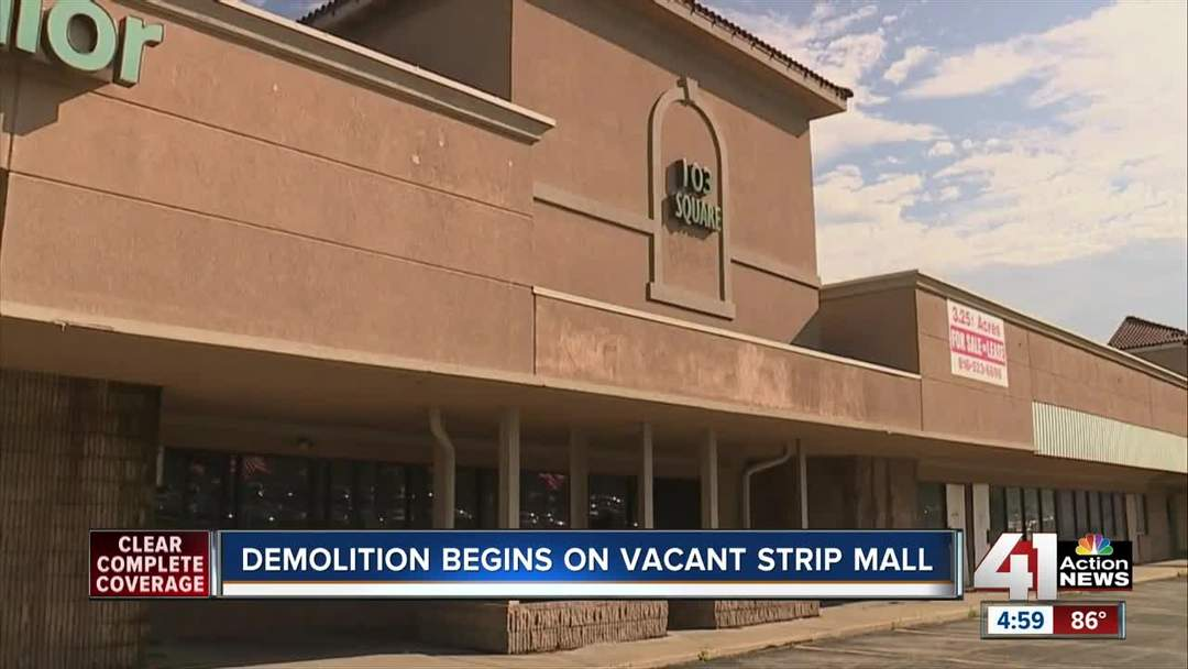 Demolition begins on vacant strip mall