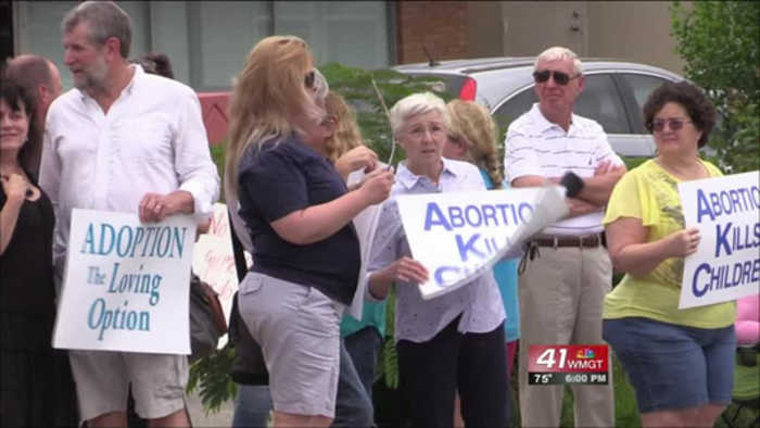 Future abortion clinic sparks protest downtown