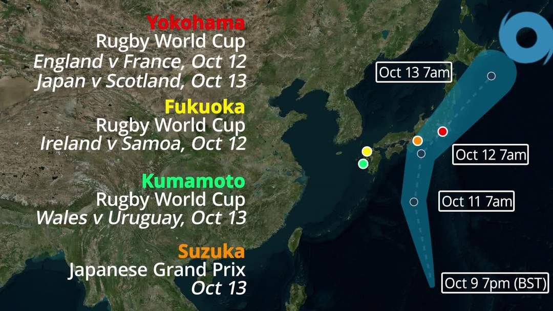 Super Typhoon Hagibis: Japan's Rugby World Cup and F1 under threat