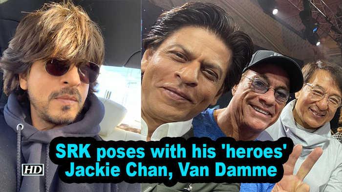 SRK poses with his 'heroes' Jackie Chan, Van Damme