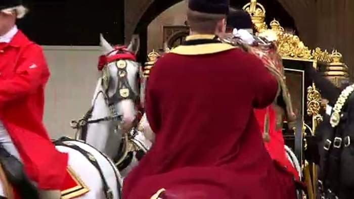 Queen departs following her speech in the House of Lords