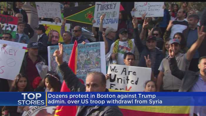 Dozens Protest In Boston Over U.S. Troop Withdrawl From Syria