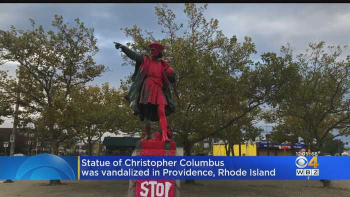 Christopher Columbus Statue In Providence Covered In Red Paint