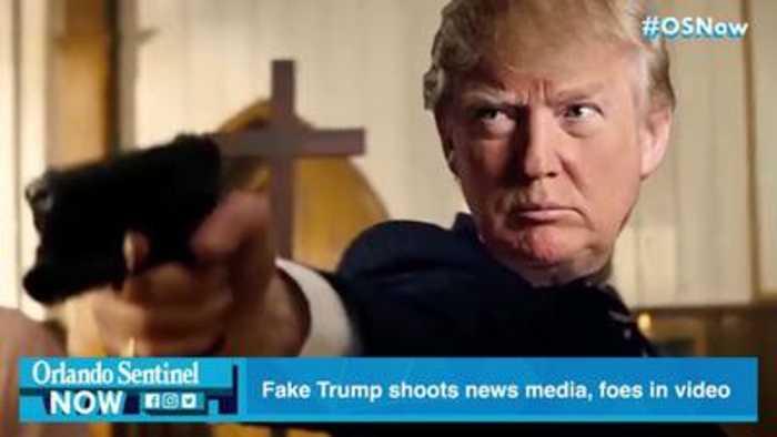 Fake Trump shoots foes on meme video shown at his Florida resort