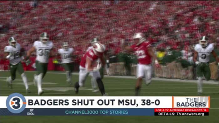 No. 8 Badgers cruise past Michigan State, 38-0