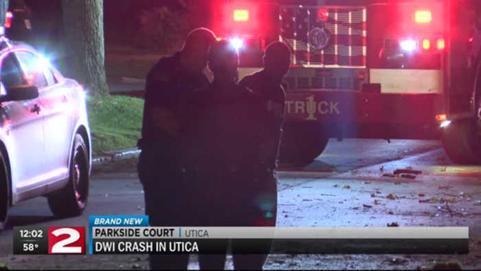 Utica man arrested for DWI after late night crash