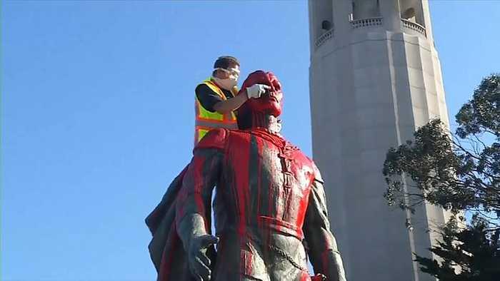 Watch: San Francisco Columbus statue vandalised on namesake US holiday