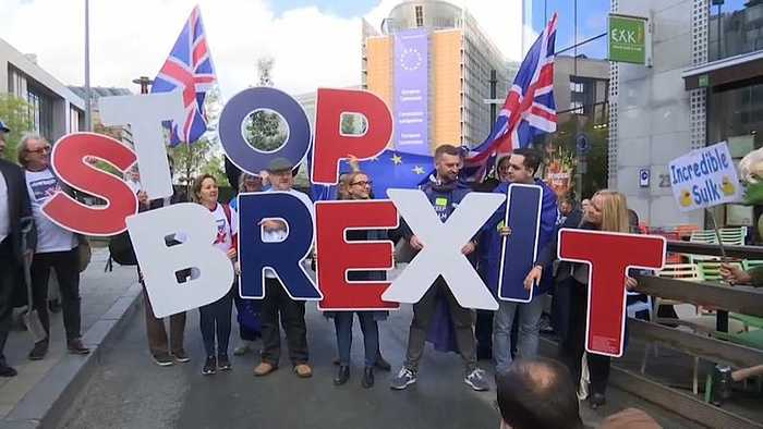 Protest against Brexit as outline deal is reached