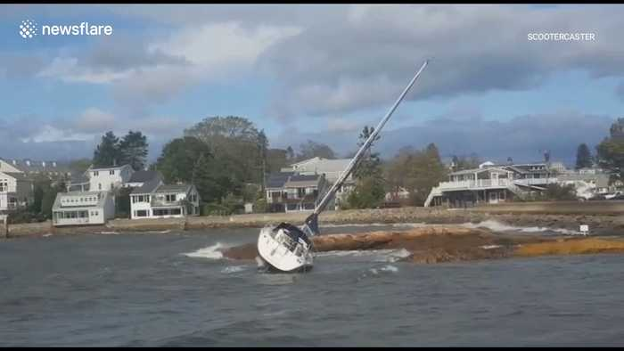 Sailboat blown ashore by bomb cyclone in US Northeast