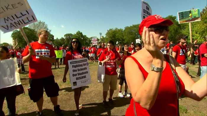 2012: Karen Lewis Leads Teachers In March During Strike