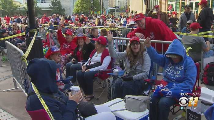 Hundreds Await In Anticipation Of President Trump's Rally