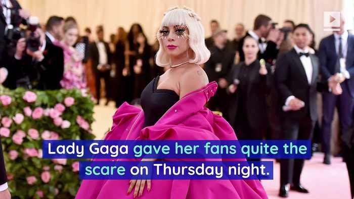 Lady Gaga Falls off Stage in Las Vegas