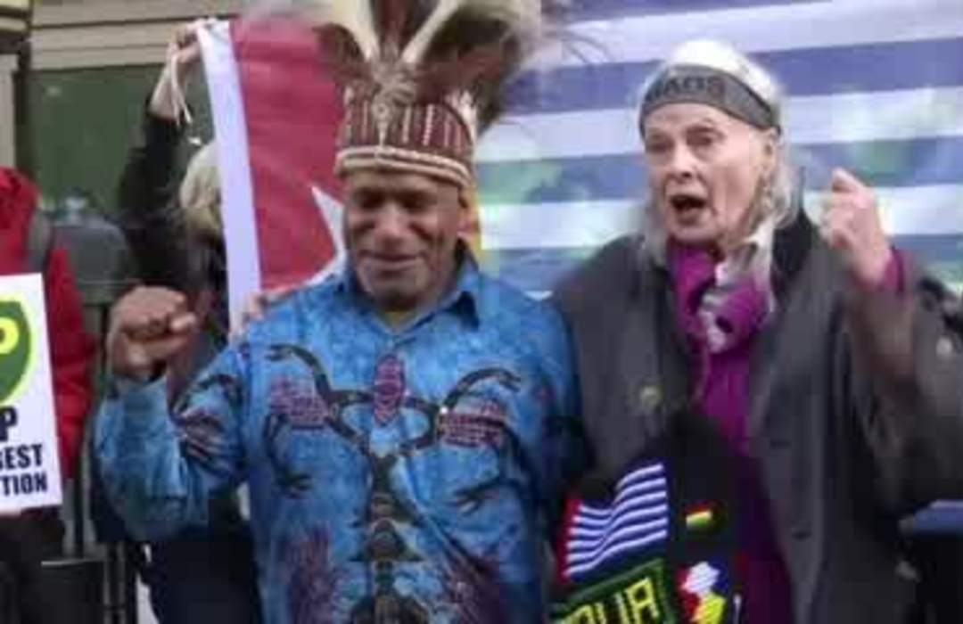 Fashion icon Westwood joins climate protest