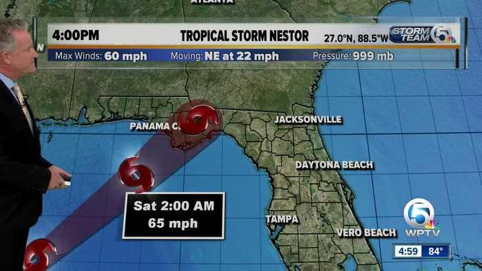 Updated Tropical Storm Nestor forecast