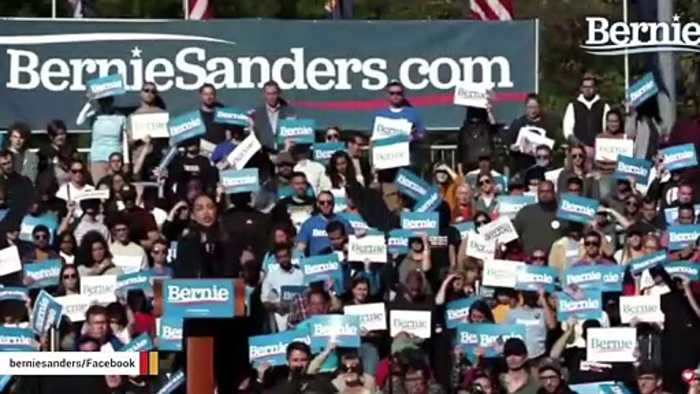 Ocasio-Cortez Speaks At Bernie Sanders Rally