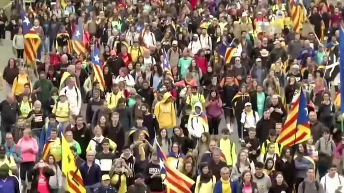 Massive separatist 'freedom' march hits Barcelona