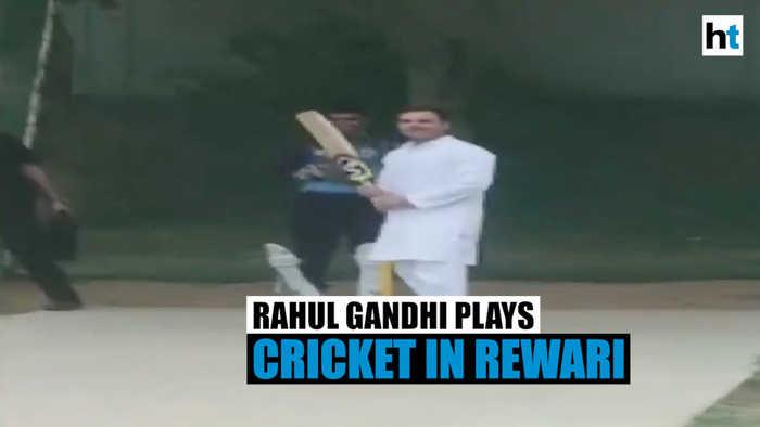 Watch: Rahul Gandhi playing cricket with locals in Rewari