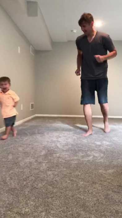 Little Kid Bangs Head On Wall While Running With Dad