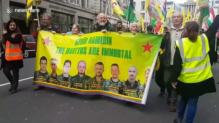 Kurds and Londoners gather to protest Turkey's military operation in Syria