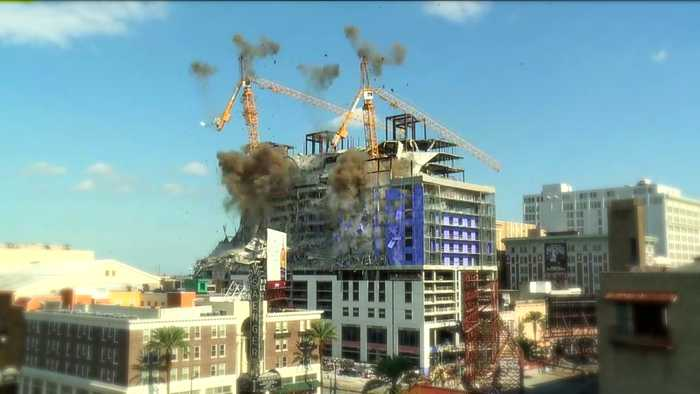 Watch the Moment the Hard Rock Hotel Cranes Came Down
