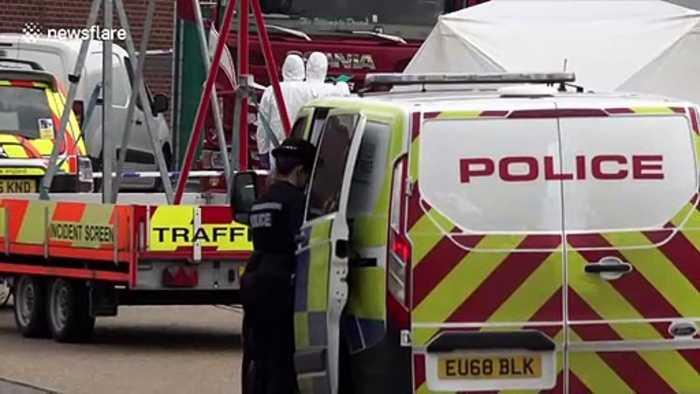 Forensics at scene where 39 bodies were found in truck in Britain