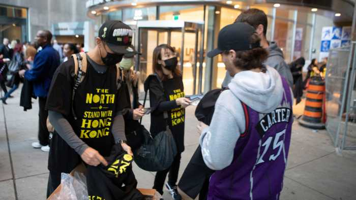 """""""Stand With Hong Kong"""" T-Shirts Distributed At Toronto Raptors Game"""