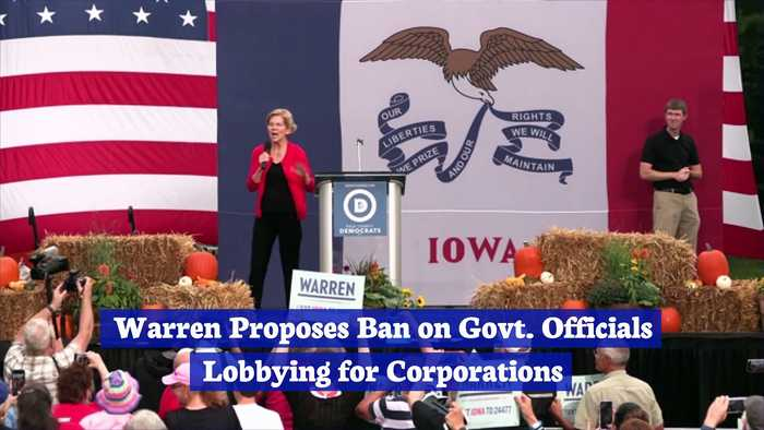 Warren Proposes Ban on Govt. Officials Lobbying for Corporations