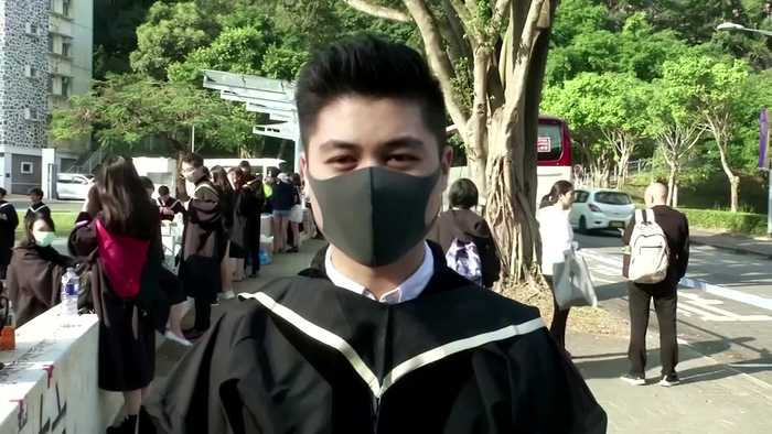 HK students stage protest on graduation day