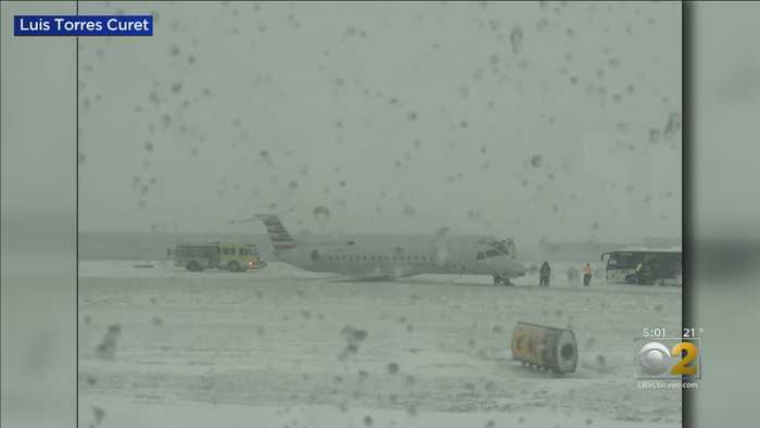 Plane Slides Off Runway at O'Hare