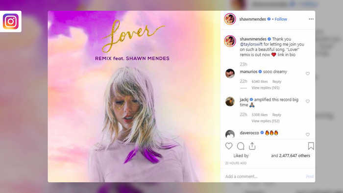 Taylor Swift teams with Shawn Mendes for 'Lover' remix