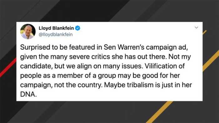Former Goldman Sachs CEO Blankfein Slams Warren: 'Maybe Tribalism Is Just In Her DNA'
