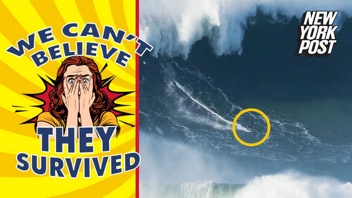 A surfer takes on a 100-foot wave and more death-defying moments