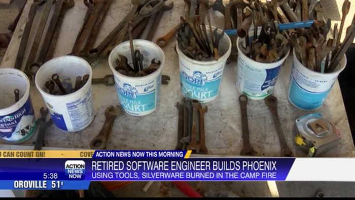 Camp Fire survivor uses fire burned tools to create Phoenix