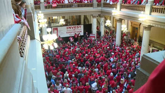 'A stream of red and maybe somebody will start to listen,' Indiana teachers rally to voice their con