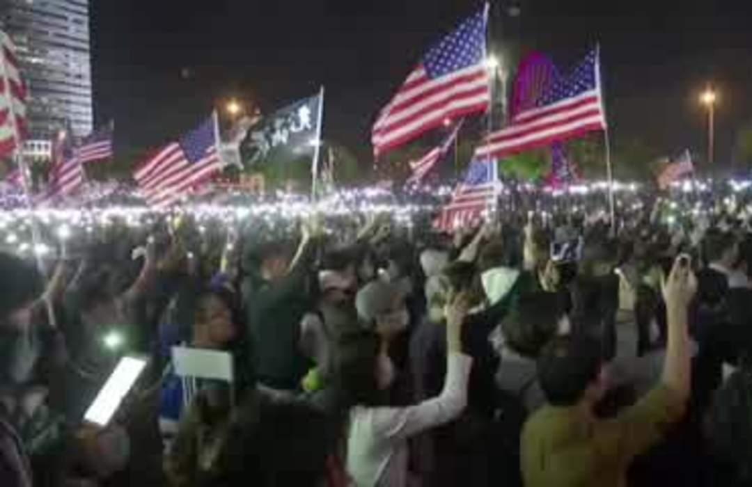 Hong Kong protesters hold mass 'Thanksgiving' rally