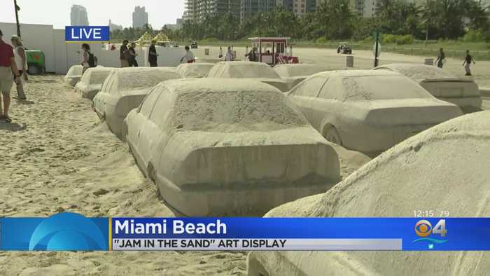 Miami Beach Art Installation Creates Traffic Jam In The Sand
