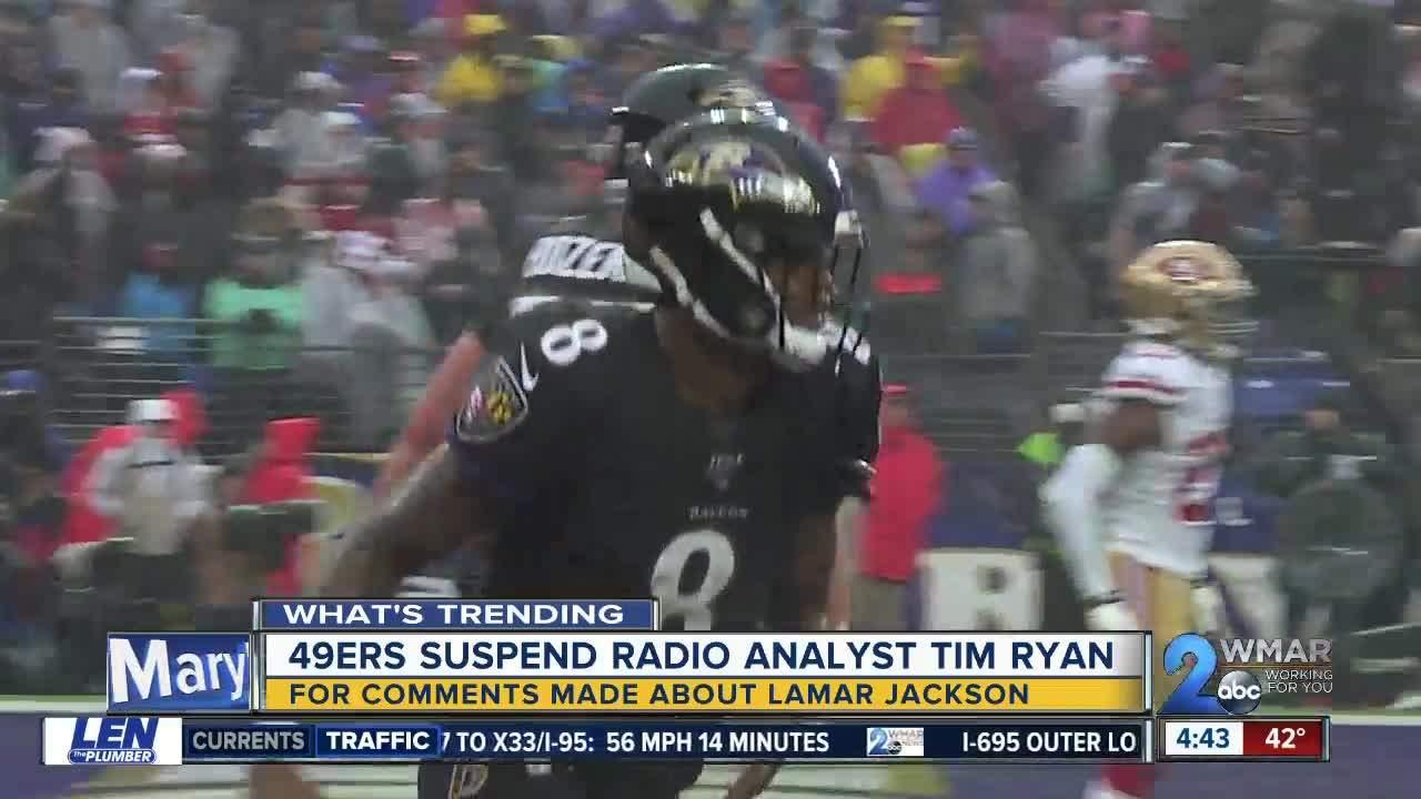 49ers suspend analyst over 'dark skin' remarks about Ravens' Lamar Jackson