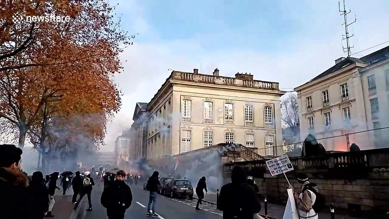 Tear gas fills air above protest in western French city of Nantes