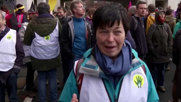 Climate activists form human chain in Brussels