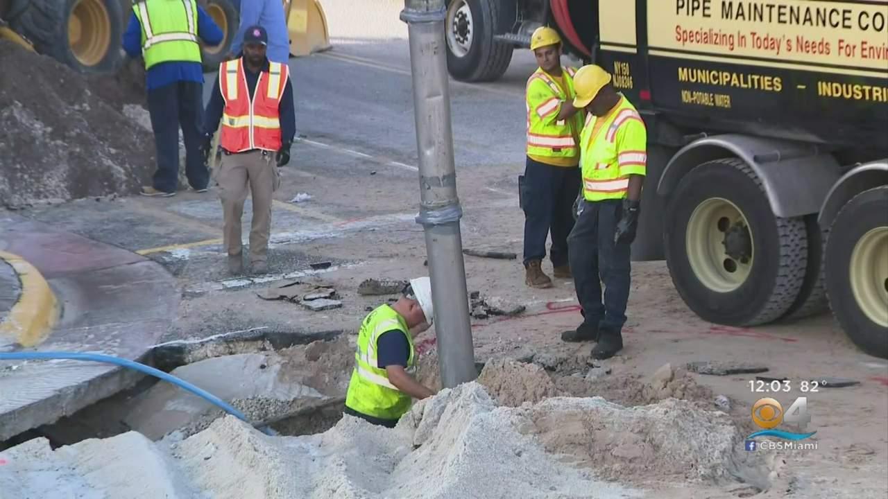 Broken Miami Beach Water Main Leaking Again