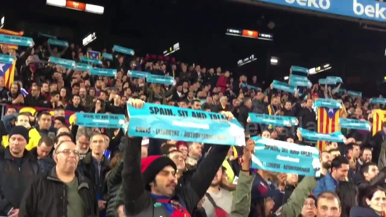 Pro-Catalan independence protesters interrupt Barcelona-Real Madrid game in Catalonia