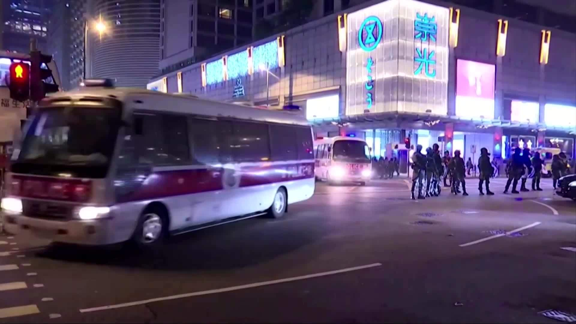 Hong Kong police fire tear gas on Christmas Eve