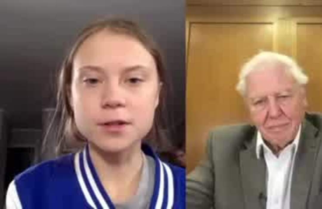 Thunberg tells David Attenborough his nature films inspired her