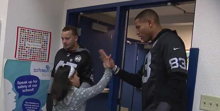 Raider surprise Las Vegas elementary school students
