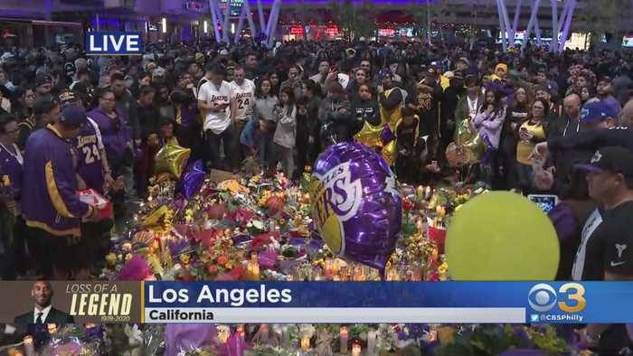 Lakers Fans Flock To Staples Center To Mourn Death of Kobe Bryant
