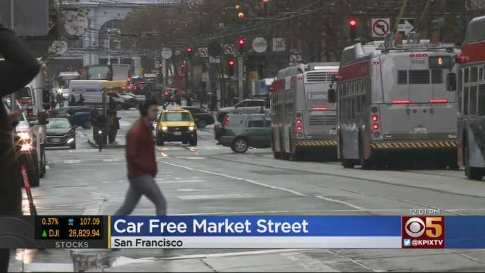 Two-Mile Stretch Of Market Street In San Francisco Goes Car Free