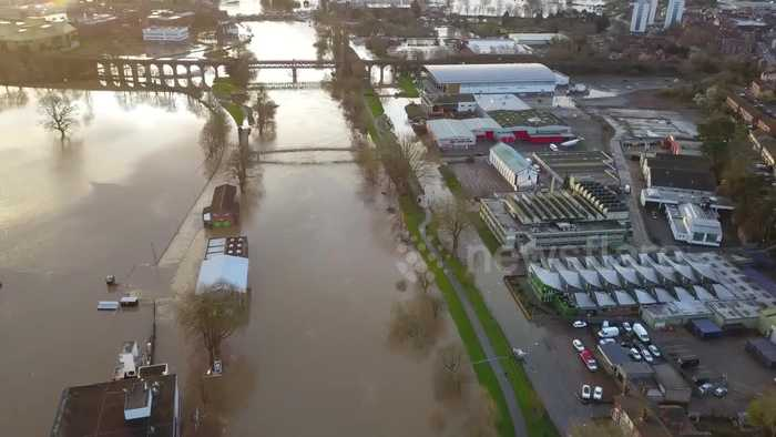 Drone footage shows extent of 'worst flooding in 200 years' in the West Midlands