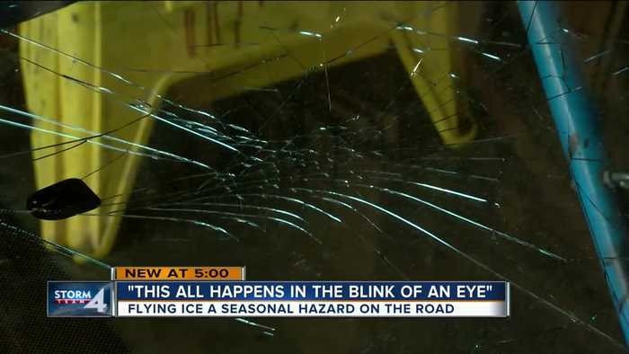 'This all happens in the blink of an eye': Flying ice smashes windshields of local drivers