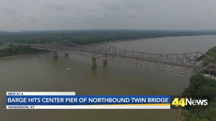 Barge Hits Center Pier of Northbound U.S. 41 Twin Bridge