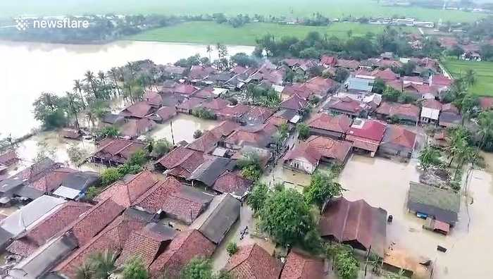 Hundreds of homes affected by floods in Karawang region of Indonesia
